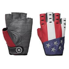 Harley Red White and Blue Americana Leather Fingerless Motorcycle Gloves 98106-19VM