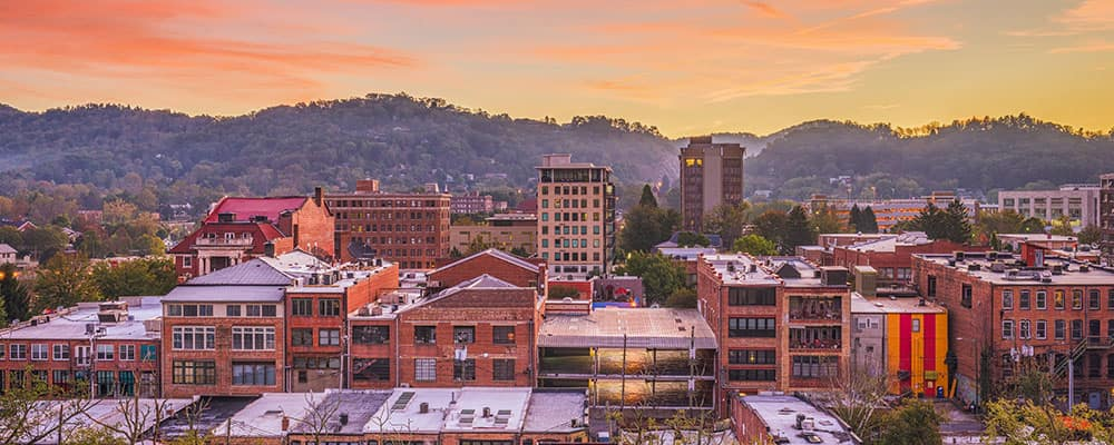 Asheville, North Carolina, USA downtown skyline at dawn.