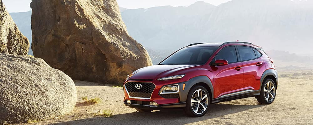 2020 Hyundai Kona red on sand