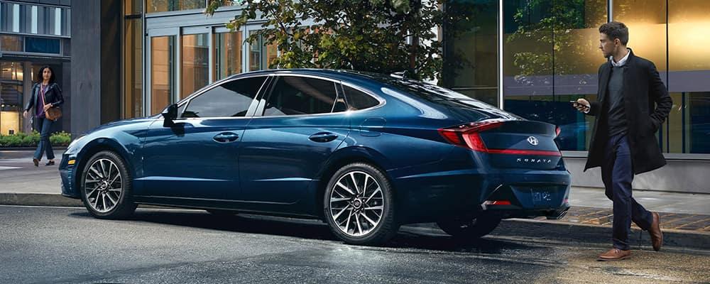 Man approaching 2020 Hyundai Sonata