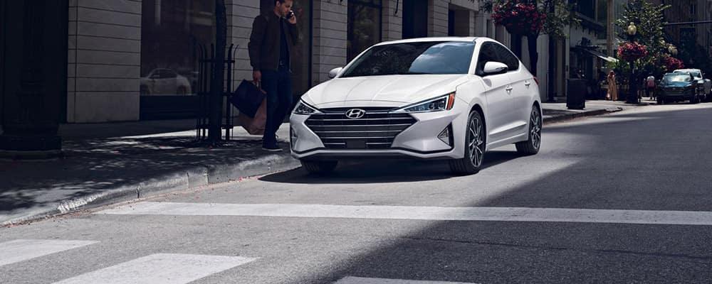 2020 Hyundai Elantra stopped at crosswalk