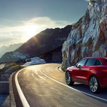 2019 Jaguar F-Pace driving around corner