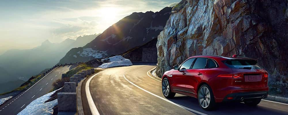 2019 Jaguar F-Pace around mountain corner