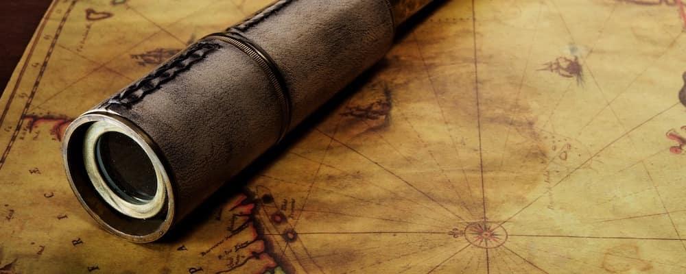 nautical telescope on old map