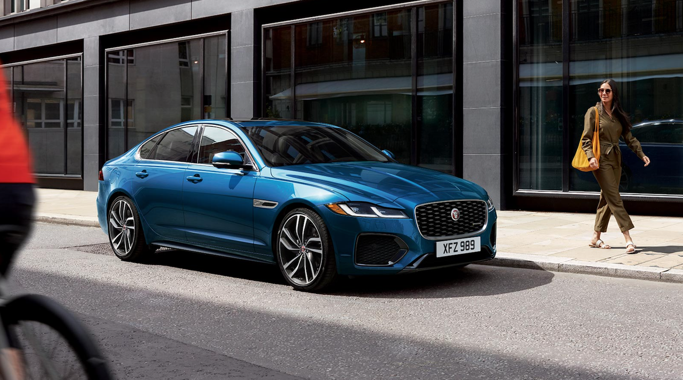 The 2021 Jaguar XF parked on the street.