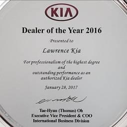 Lawrence Kia Dealer of the Year 2016