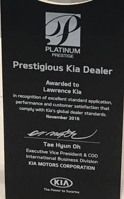 Lawrence Kia Prestigious Award