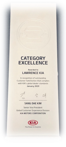 Lawrence Kia Wins Category of Excellence Award