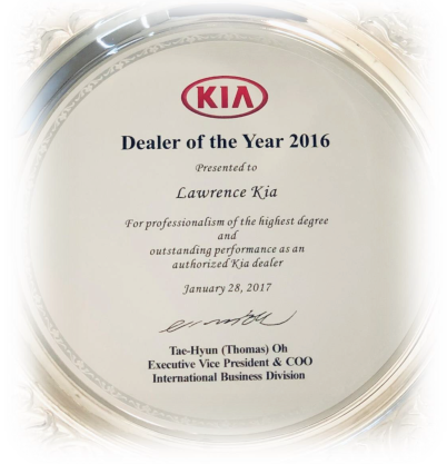 Lawrence Kia Awarded Dealer of the Year 2016