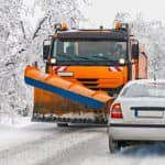 Snow Plow and Car Driving