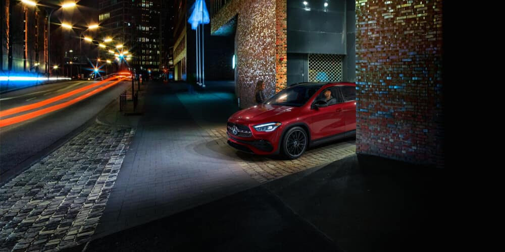 2021 Mercedes-Benz GLA coming out of parking garage