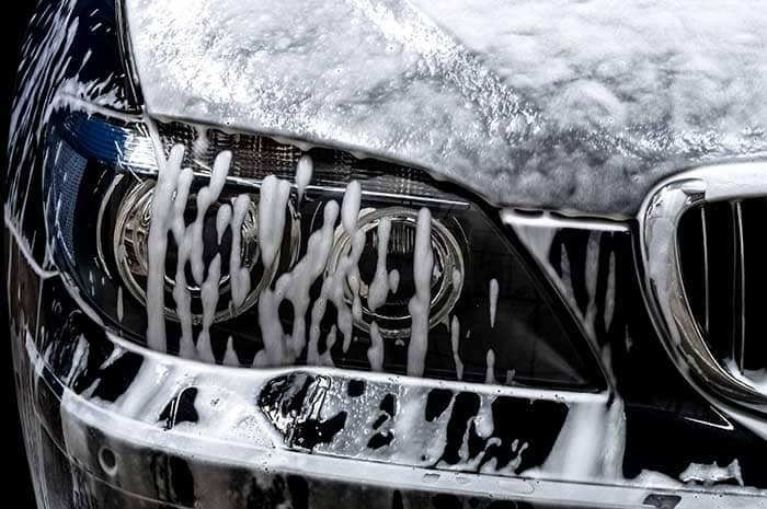 Closeup of Car Being Washed