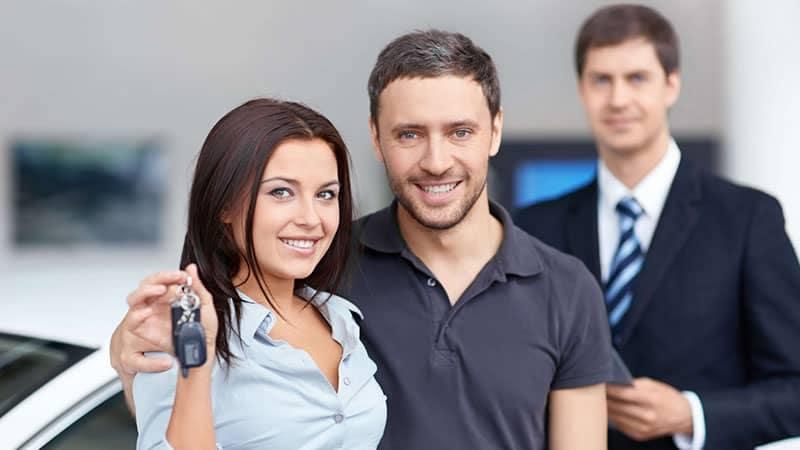 Couple getting car keys