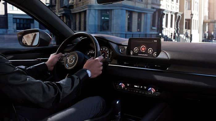Person driving a 2018 Mazda6 interior view