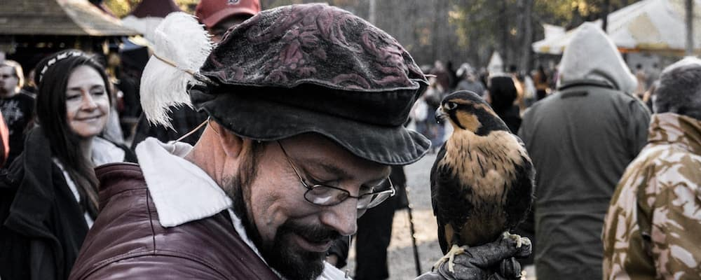 Man holding falcon at renaissance festival