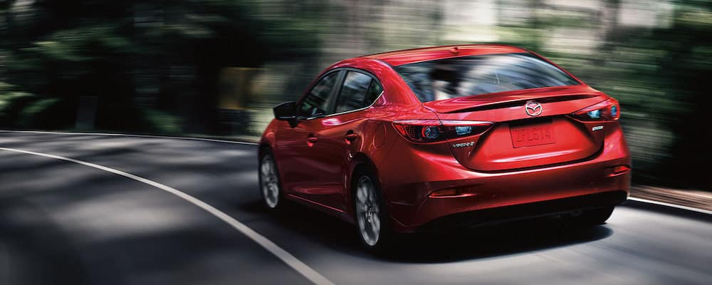2018 mazda 3 sedan rear view in red
