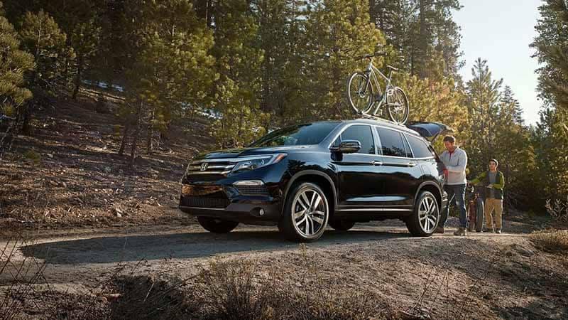 2018 Honda Pilot off roading to a biking trail