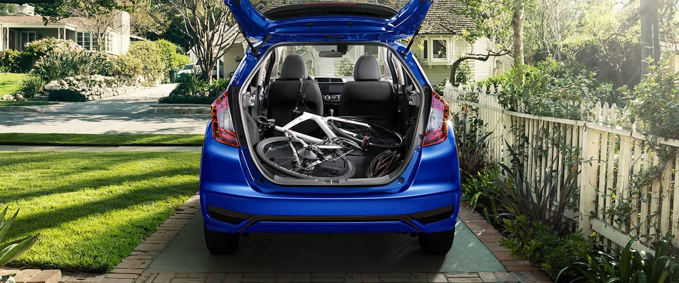 2019 Honda Fit Cargo Area folded flat with bike laying in back