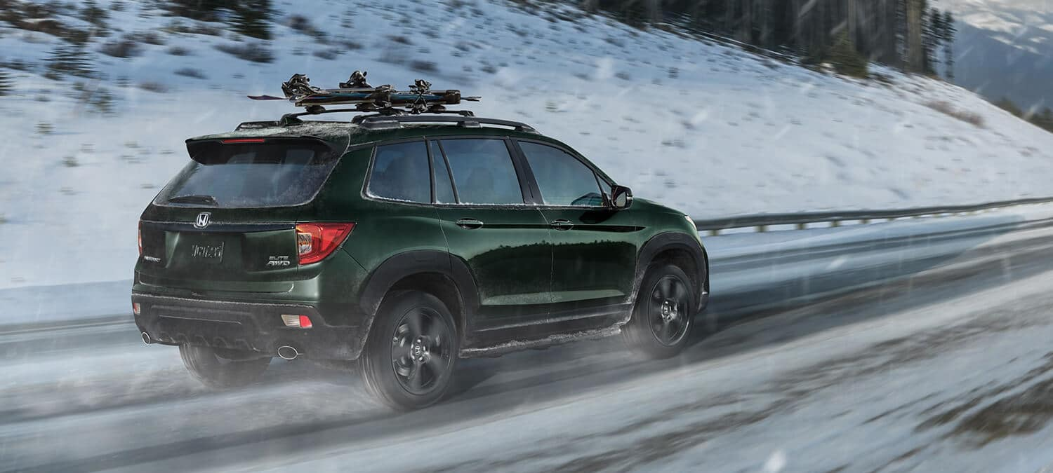 2019 Honda Passport AWD Exterior Rear Angle Passenger Side Winter