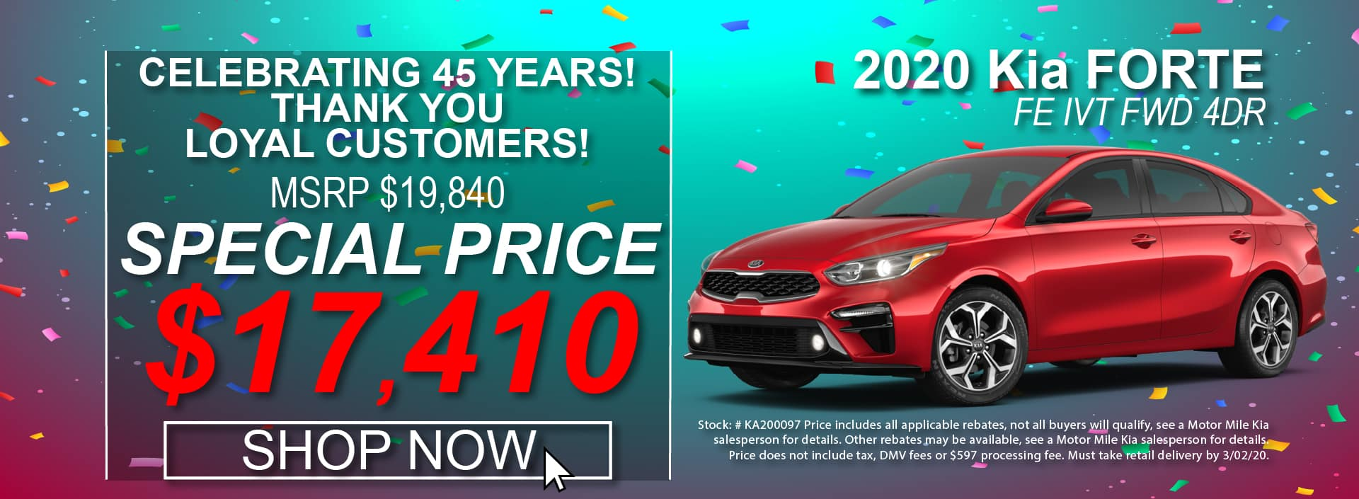 2020 Kia Forte Special Offers at Motor Mile Kia