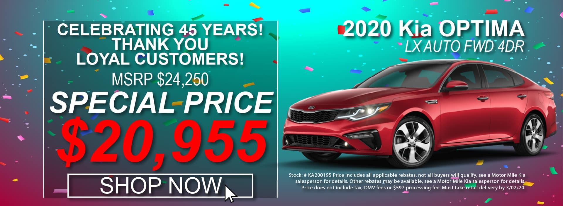 2020 Kia Optima Special Prices at Motor Mile Kia