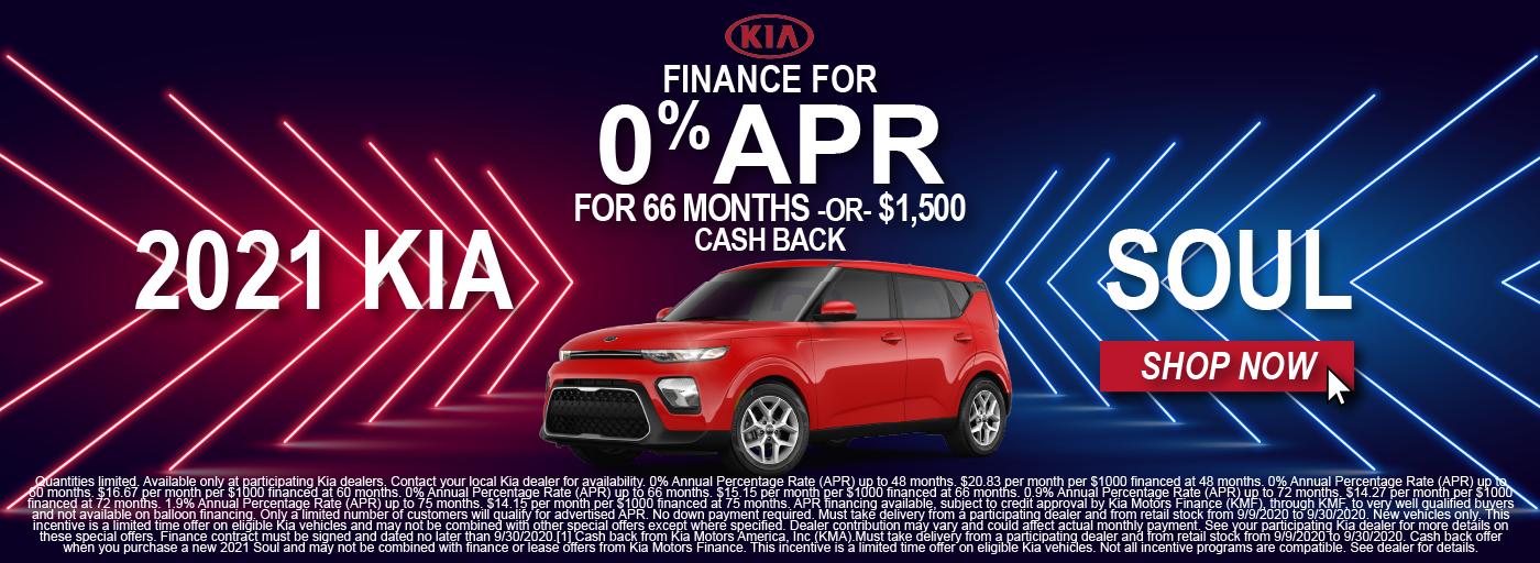 2021 Kia Soul 0% APR Motor Mile Finance Special
