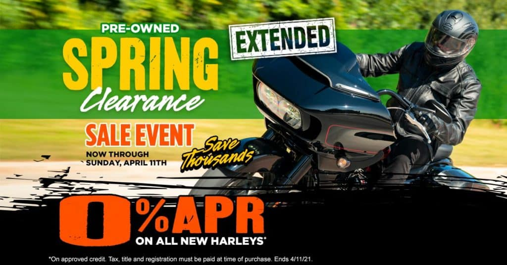 Pre-Owned Spring Clearance Event or 0% APR On All New Harleys