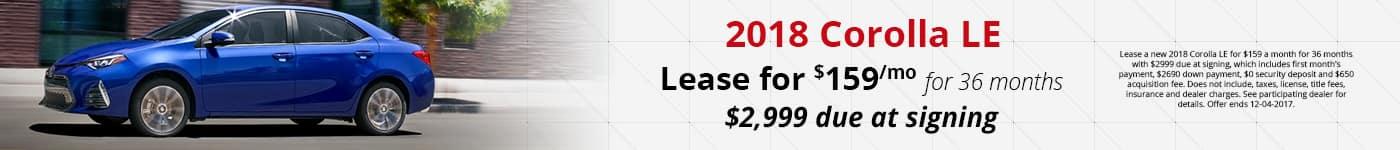 2018 Corolla LE November Offer Toyota of Naperville