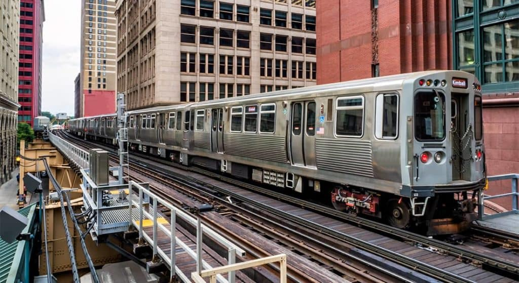 Chicago train on Elevated Tracks at the Loop