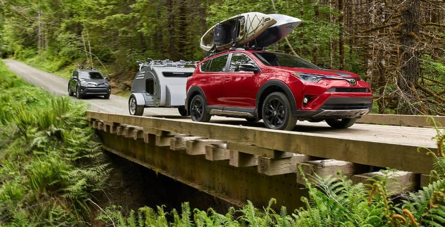 2018 Toyota RAV4 Adventure tows trailer to forest