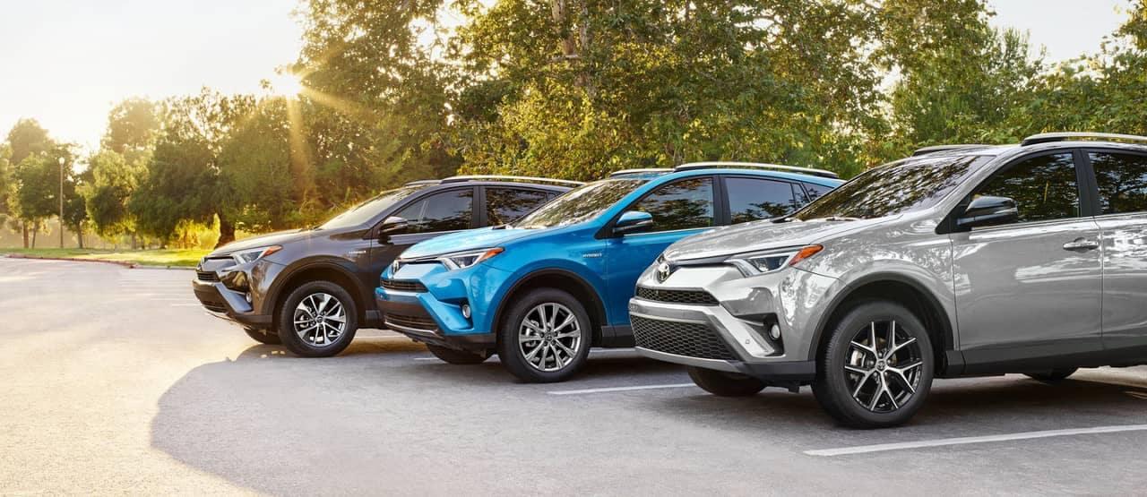 2018 Toyota RAV4 SE, Limited Hybrid, and XLE Hybrid