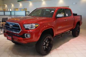 Red Tacoma Custom toyota of naperville