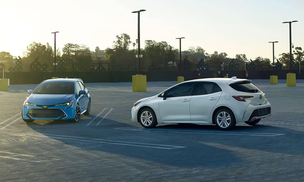 2019 Toyota Corolla Hatchbacks in parking lot at dusk