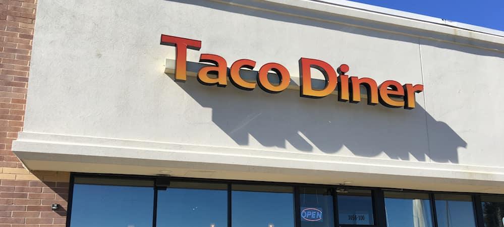 Taco Diner Aurora sign