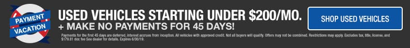 Used vehicles starting under $200 dollars plus make no payments for 45 days - Shop used vehicles