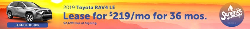 2019 Toyota RAV4 LE - Lease for $219 per month for 36 months with $2,699 due at signing - Click for details