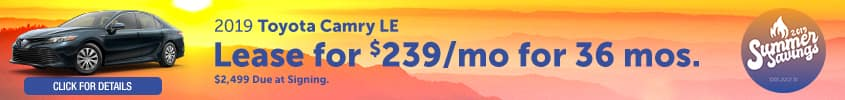 2019 Toyota Camry LE - lease for $239/month for 36 months with $2,499 due at signing - Click for details