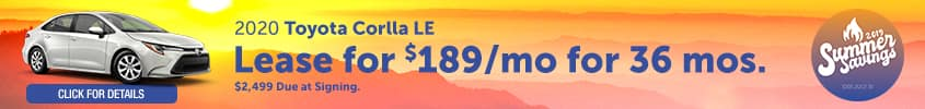 2020 Toyota Corolla LE - Lease for $189 per month for 36 months with $2,499 due at signing - Click for details