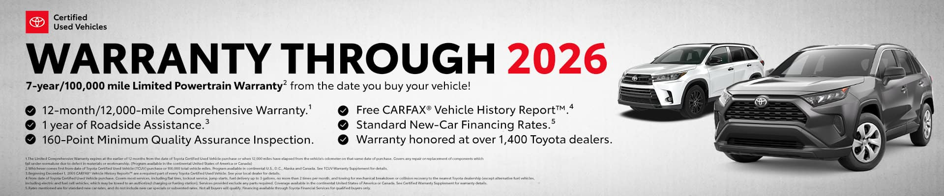 Certified pre-owned warranty through 2026 - 7 year 100,000 mile limited powertrain warranty from the date you buy your vehicle - View our certified used inventory