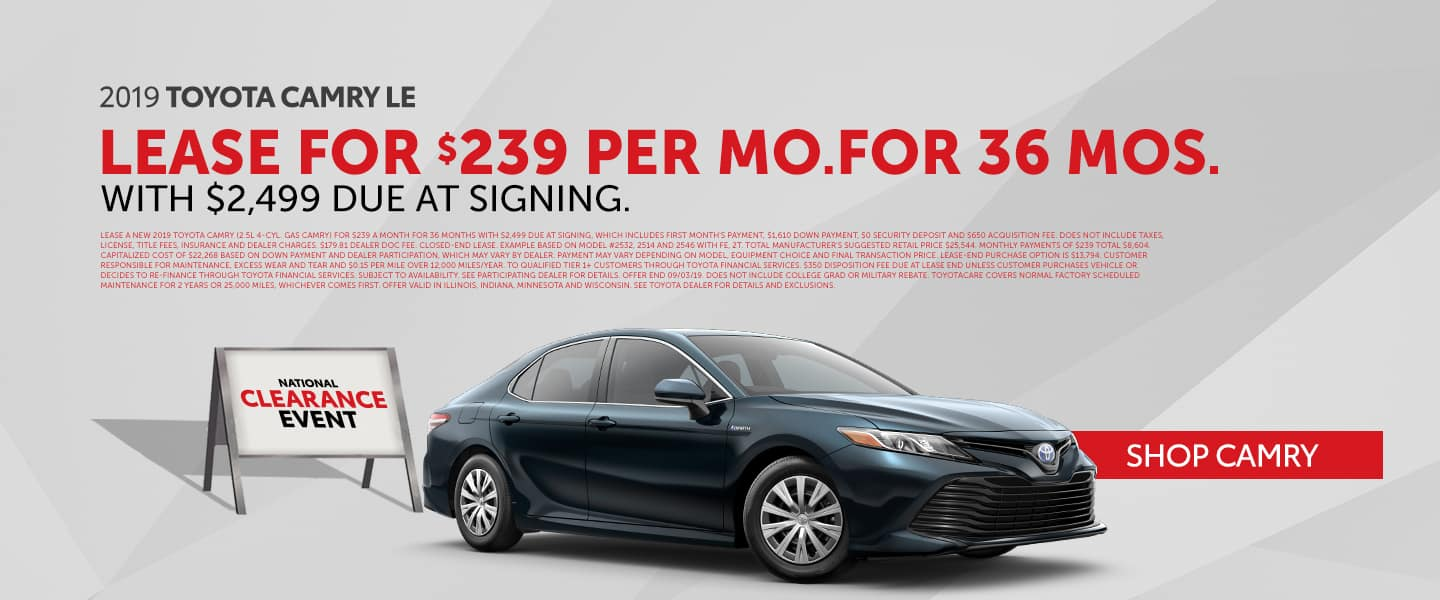 Lease The Toyota Camry During The National Clearance Event!