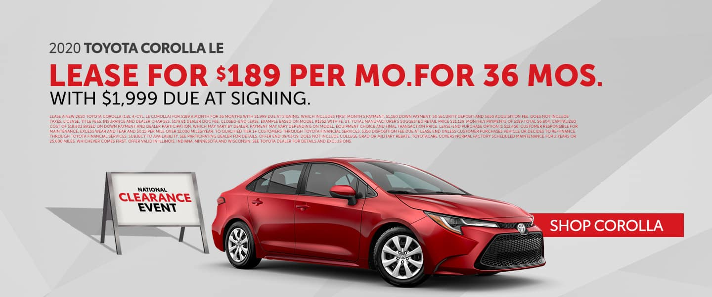 Shop For Your Next Toyota Corolla During The National Clearance Event!