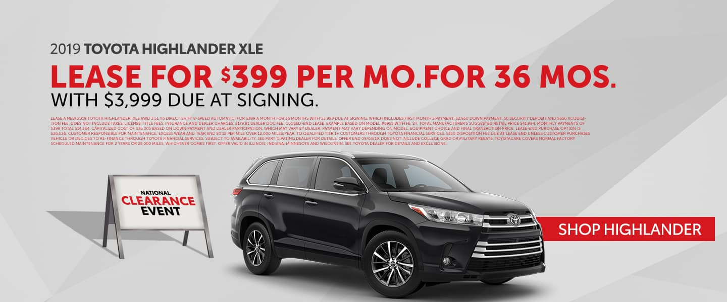 Lease The New 2019 Toyota Highlander During The National Clearance Event!