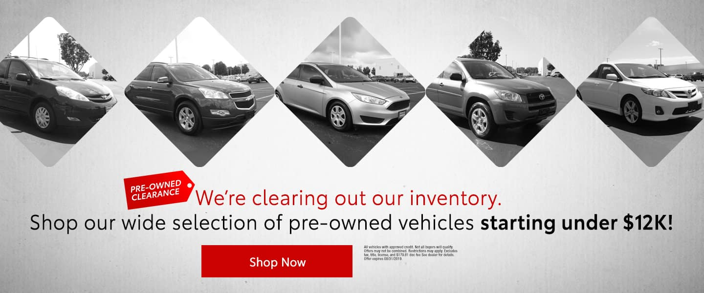 We're clearing out our inventory - Shop our wide selection of pre-owned vehicles starting under $12K - Shop Now