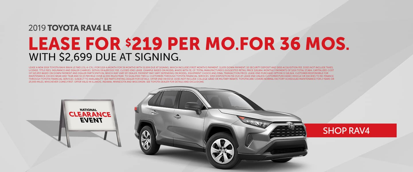 Lease The New 2019 Toyota RAV4 During The National Clearance Event!