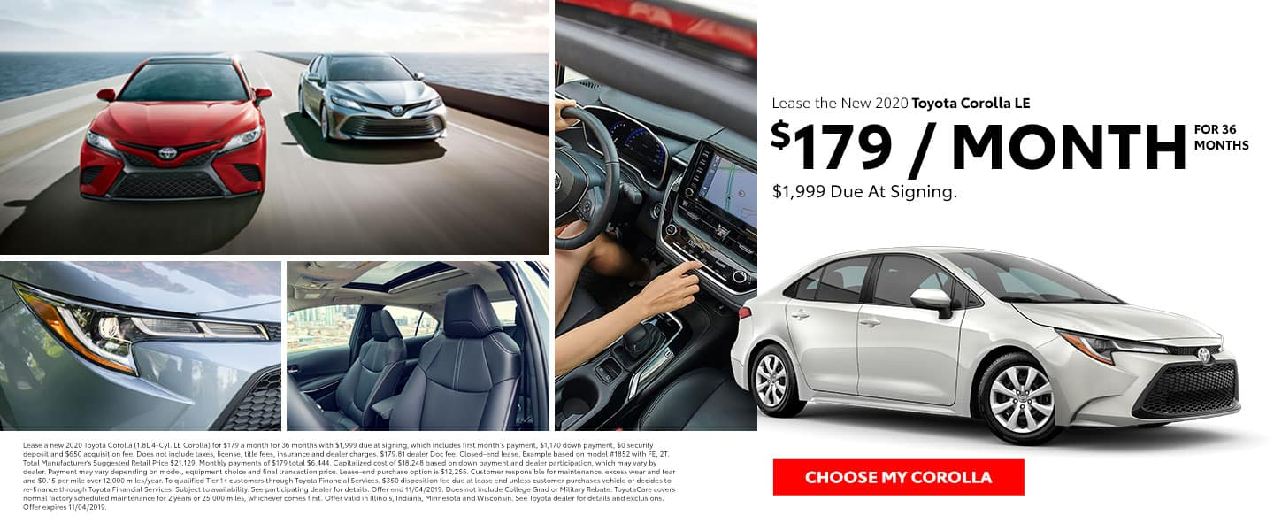 Lease the 2020 Corolla LE for $179 per month for 36 months with $1,999 due at signing - Choose my Corolla