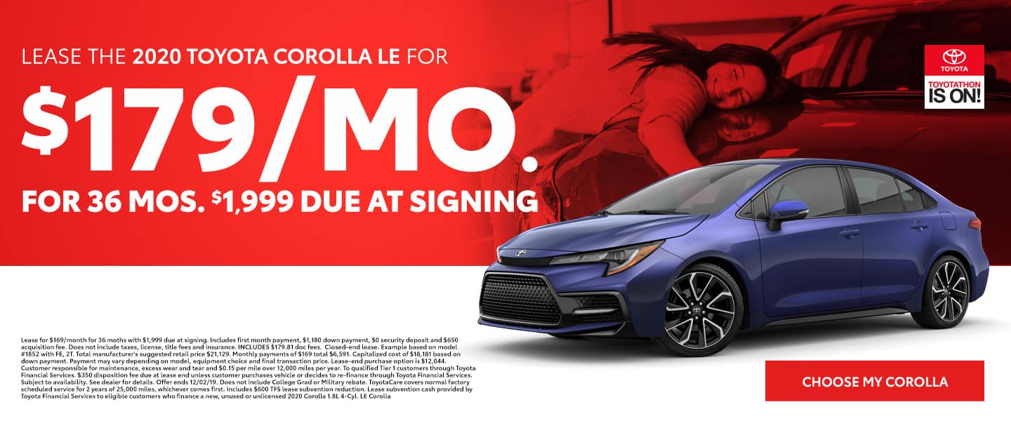 Lease the 2020 Corolla LE for $179 per month for 36 months with $1,999 due - Choose my Corolla