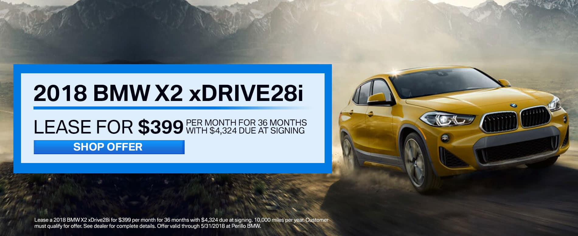 Lease a BMW X2 xDrive28i for $399/mo at Perillo BMW