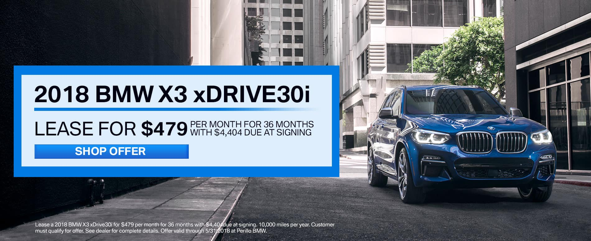 Lease a 2018 BMW X3 xDrive30i for $479/mo at Perillo BMW