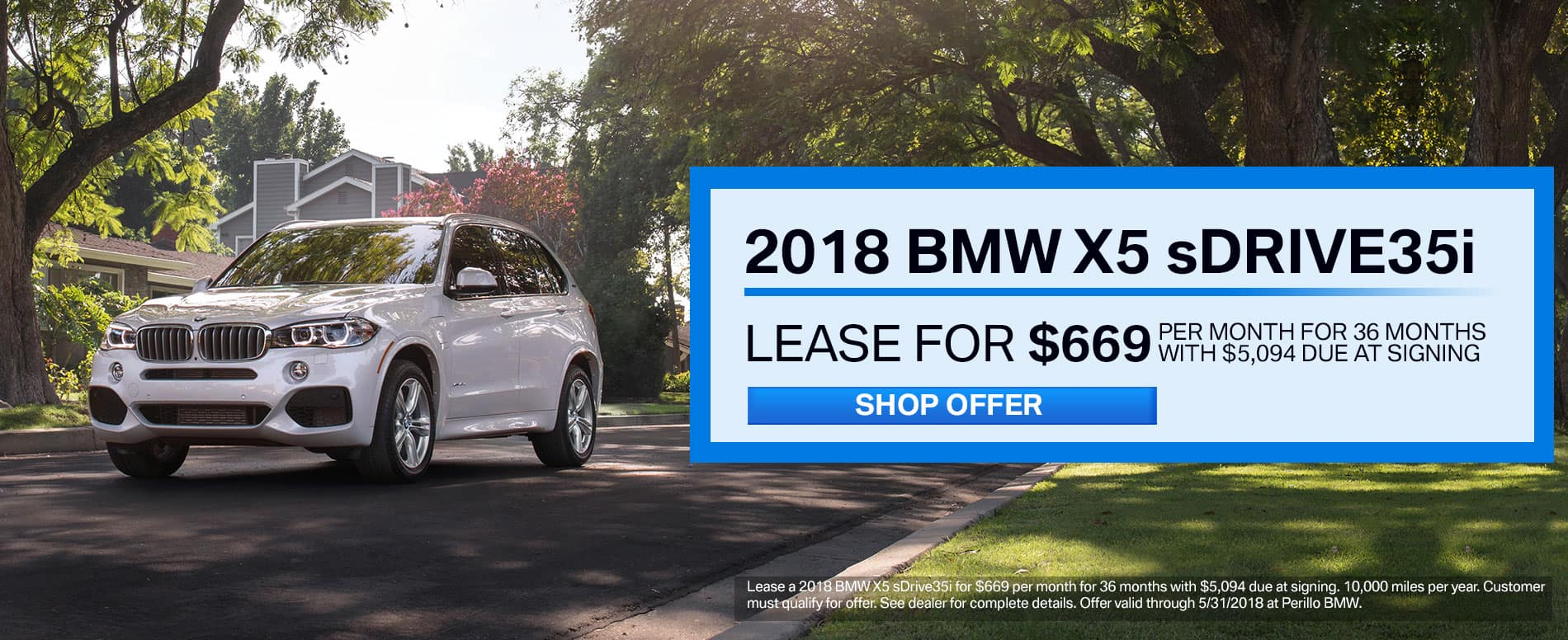 Lease a BMW X5 sDrive35i for $669/mo at Perillo BMW
