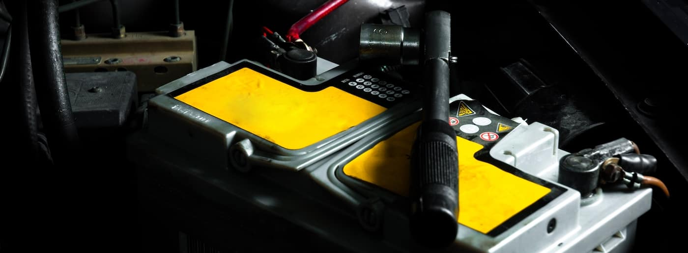A close up shot of a BMW car battery 2